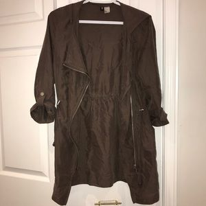 H&M Brown Zippered Double Breasted Duster Jacket